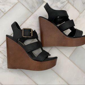 Shoes - Black wedges, Steve Madden